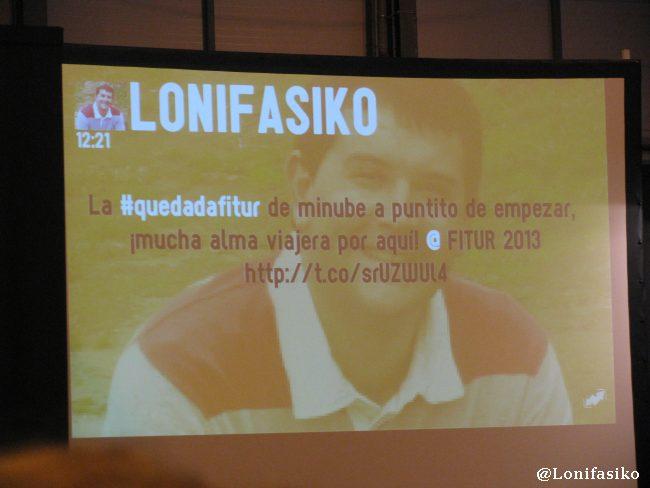 Lonifasiko tuiteando a tope durante la #quedadafitur
