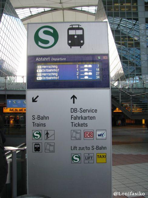 Indicaciones para bajar a los andenes del S-Bahn