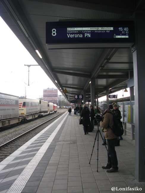 Andén donde para el EuroCity dirección a Verona, con parada en Innsbruck