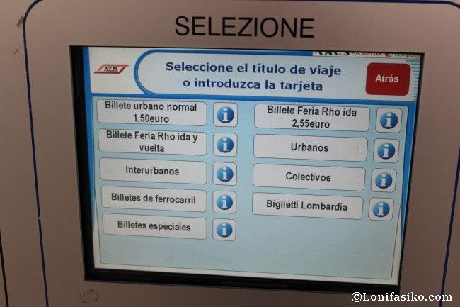 Precio billete metro de Milán