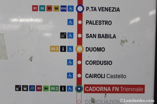 Mapa Línea 1 del Metro de Milán