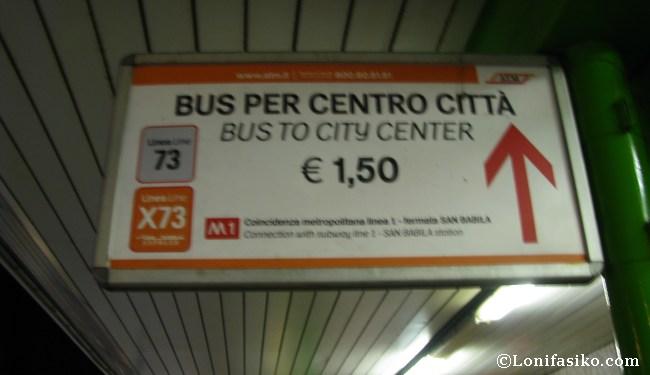 Transporte público desde aeropuerto Linate al centro de Milán