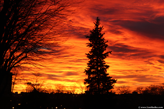 Atardecer infernal de Enero, cuando el cielo de Madrid arde en llamas