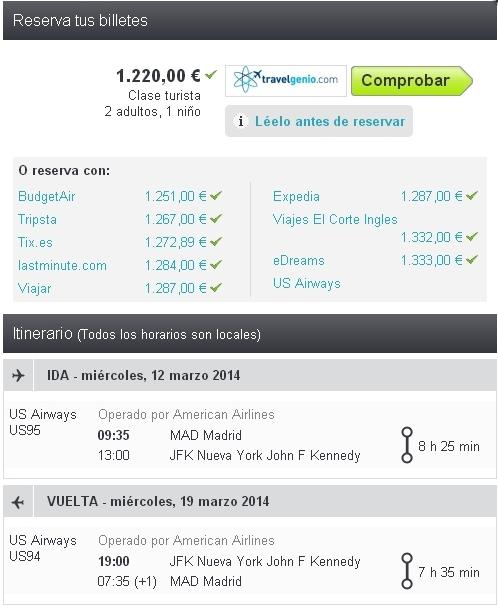 Ofertas de vuelos Madrid - Nueva York con niños, a precios ya normales
