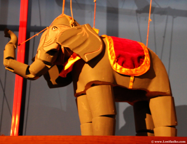 Marionetas de animales presentes en el museo Topic de Tolosa