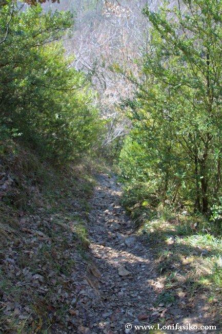 Sendero de bajada hacia la presa de Aranbaltza