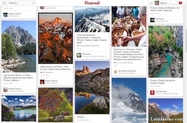 Pinterest, red social que agrupa fotografías de diferentes páginas web