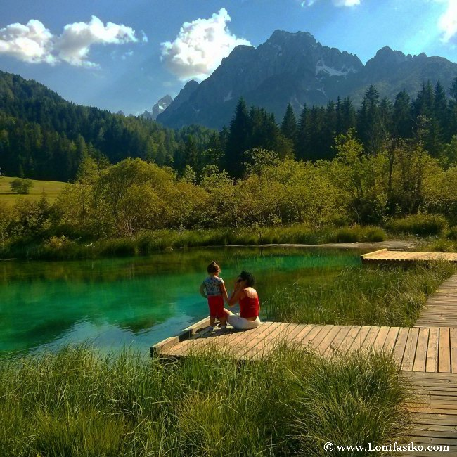 El manantial de Zelenci o afloramiento del río Sava Dolinka, paisaje de postal