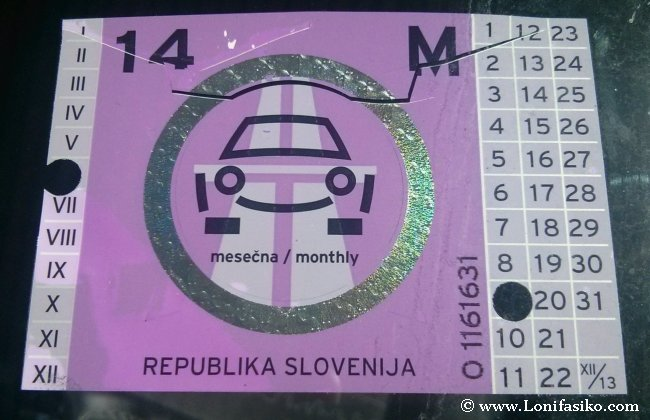 Viñeta para circular en coche por Eslovenia