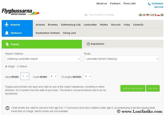 Compra del billete en la web de Flygbussarna