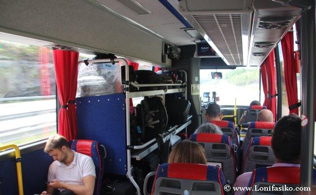 Interior de los autobuses de Flygbussarna
