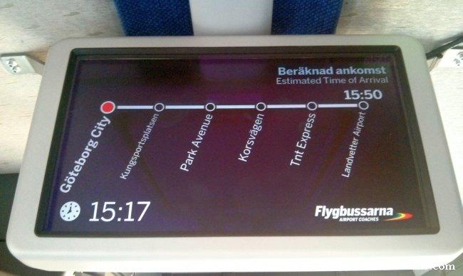 Paradas de autobús desde el centro de Göteborg hasta Landvetter