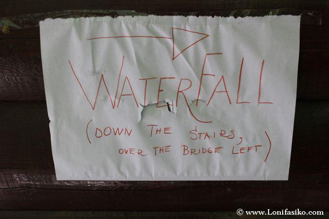 Indicaciones para bajar a la base de la cascada