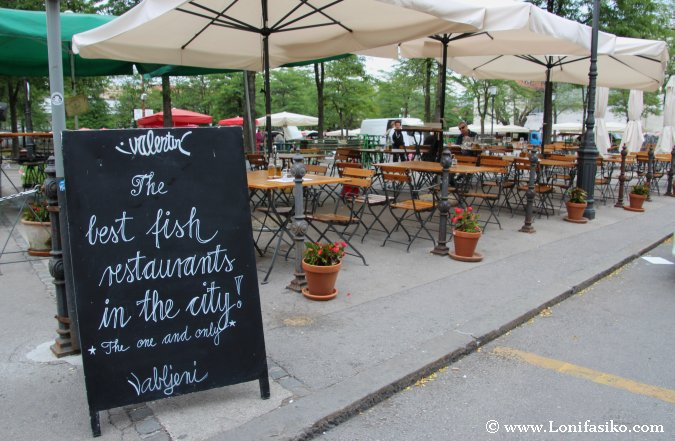 Comer en el centro de Liubliana en una terraza