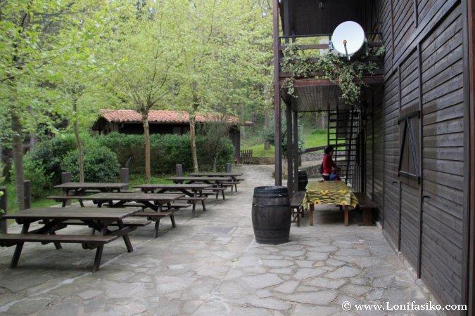 Terraza de cabaña central