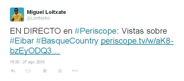 Publicar en Twitter retransmisiones de Periscope