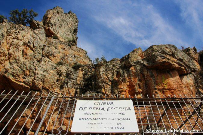 Protección pinturas Peña Escrita Monumento Nacional