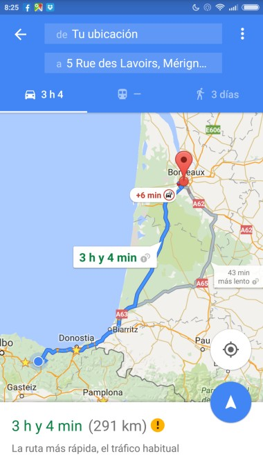 Itinerario de viaje con Google Maps