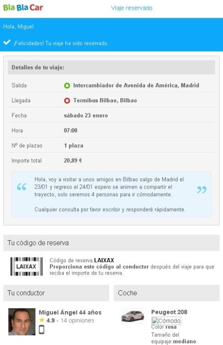 BlaBlaBar Confirmación de reserva de plaza