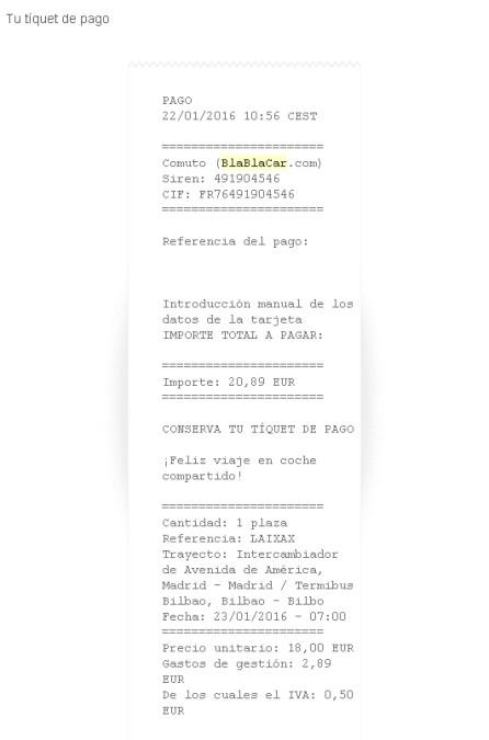 BlaBlaCar Pago Seguro con tarjeta Paypal