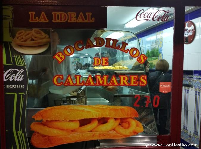Bocadillo Calamares Bar La Ideal en Madrid