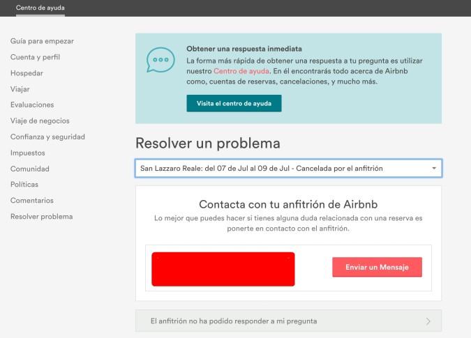 Airbnb, problemas con reserva