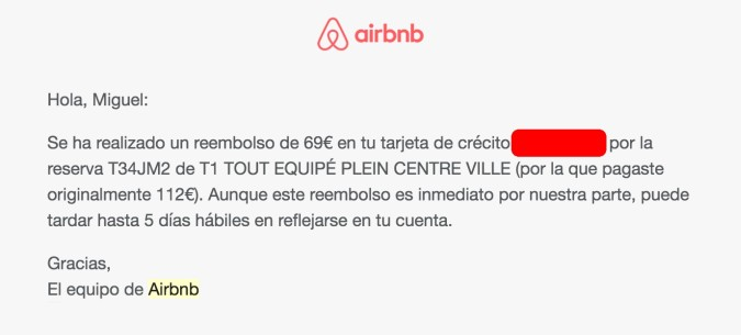 Airbnb reembolso