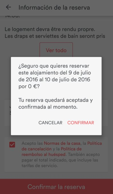 Airbnb app mensajes