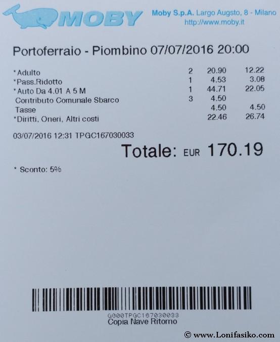 Ticket ferry Elba isla precios