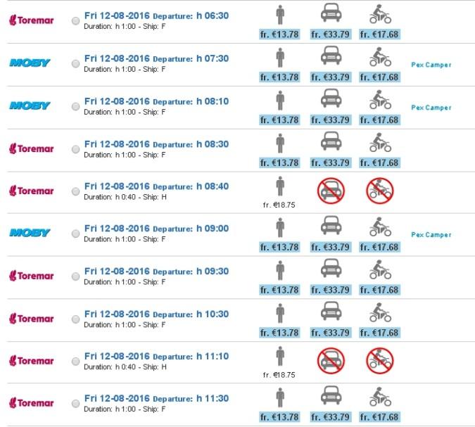 Ferry isla Elba horarios timetable