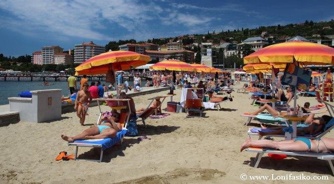 Portoroz private beach Slovenia