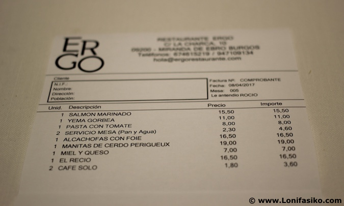 Ergo Restaurante Miranda de Ebro precio fotos