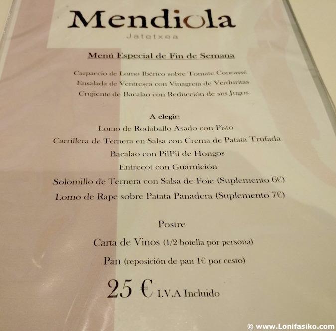 mendiola ermua menu especial