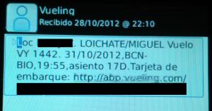 Tarjeta de embarque de Vueling en el móvil vía SMS