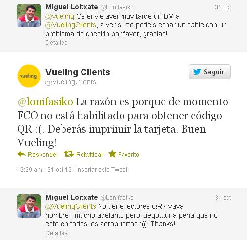 Conversación con Vueling vía Twitter