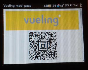 Tarjeta de embarque en formato código QR de Vueling