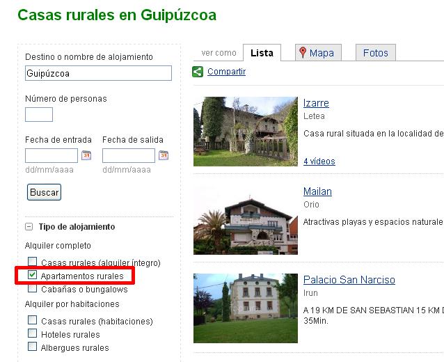 Opciones de búsqueda de apartamentos rurales en Toprural.com