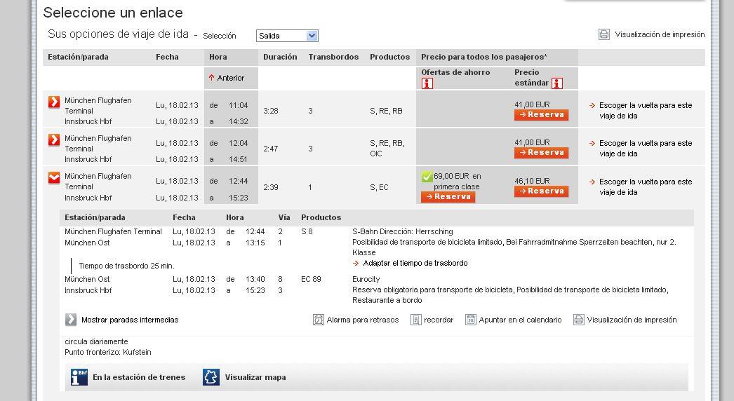 Ejemplo de itinerario Munich aeropuerto - Innbruck en en la web de Bahn.de