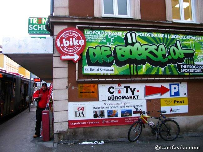 Indicaciones para la tienda de alquiler de material de esquí Die Böerse, en Innsbruck