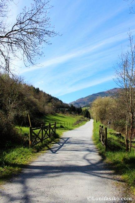 Tras pasar la zona industrial, la vía verde aborda una larga recta que atraviesa en valle
