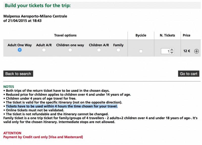 Cómo comprar por Internet el billete para el tren Malpensa Express