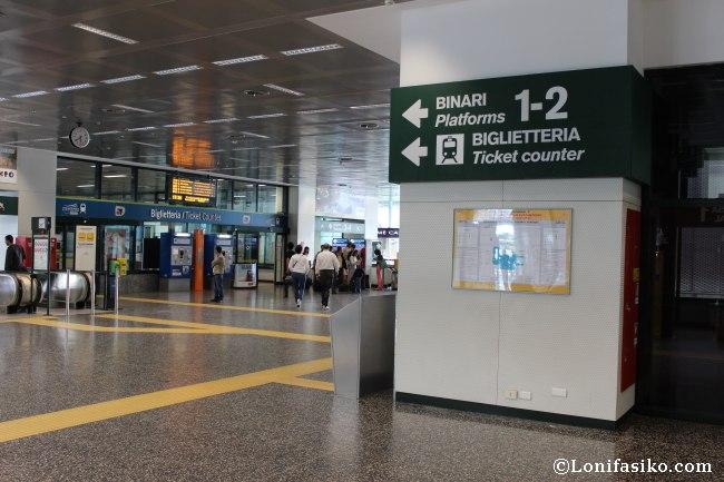 Dónde tomar el tren a Milán Malpensa Express
