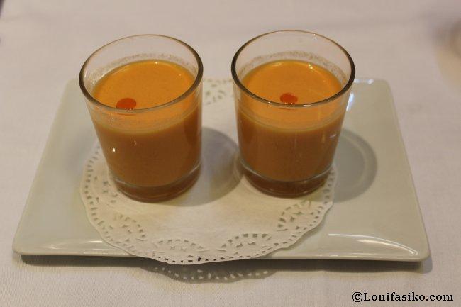 Gazpacho de sandía, aperitivo en el Restaurante La Muralla de Donostia