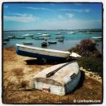 Viejos barcos en los caños que rodean el poblado de Sancti Petri