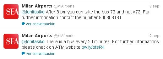 Contactar aeropuertos Milán Twitter