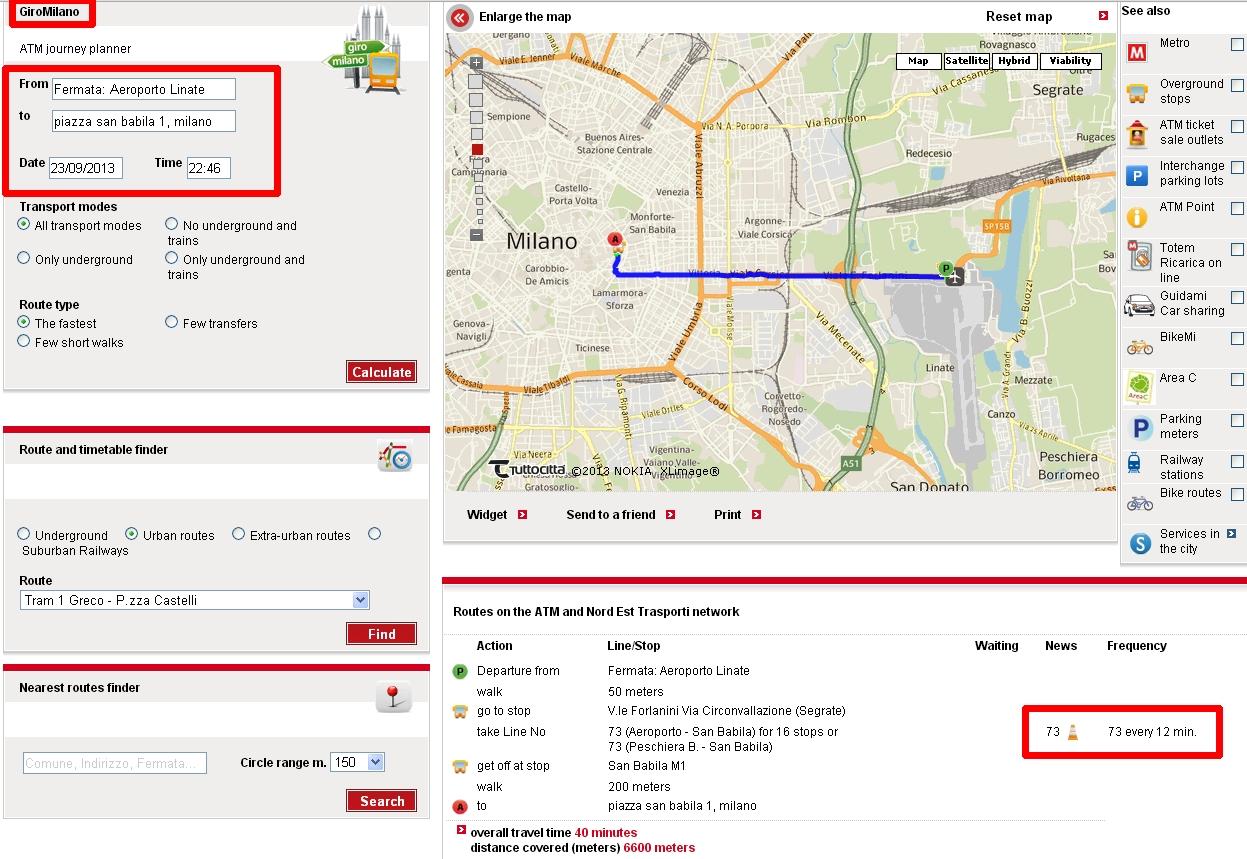 Página web autobús ATM Linate Milán
