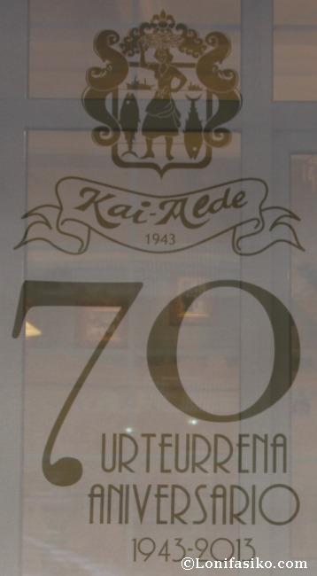 Este año 2013 el Restaurante Kai Alde celebra su 70 aniversario