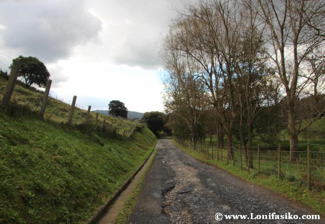 Tramo inicial del camino asfaltado de acceso a caseríos y al faro de Gorliz