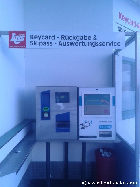 Máquinas automáticas para devolución de forfait o skipass