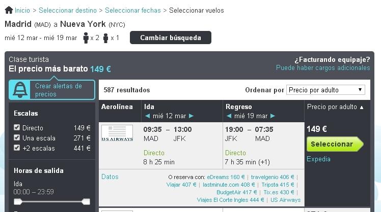 Ofertas de vuelos Madrid - Nueva York